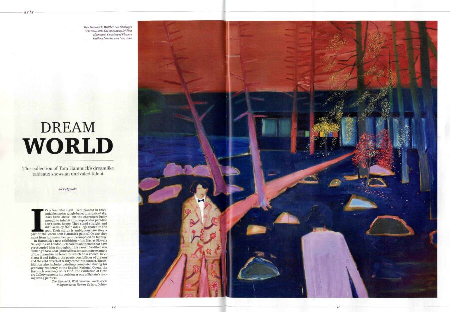 double magazine spread of art review.