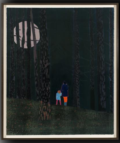 Girl and woman standing in moonlit woods