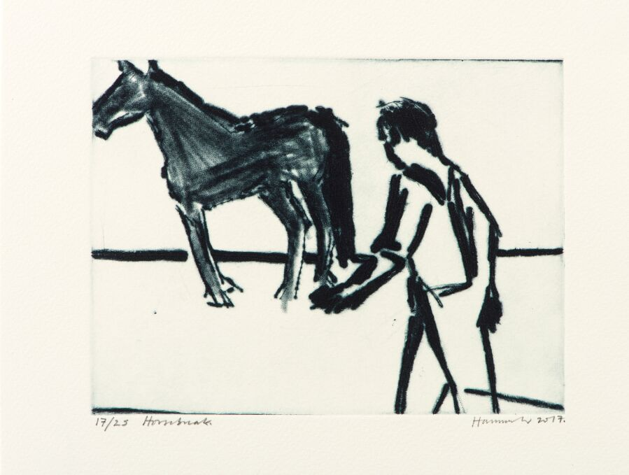 Man and horse.