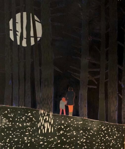 Mother and daughter standing in moonlit woods.