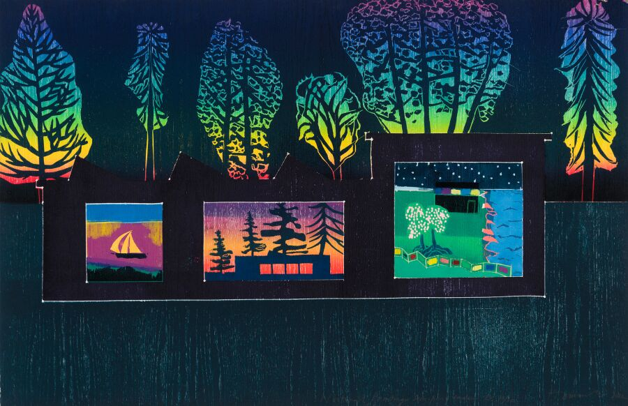 Paintings in a garden at night.